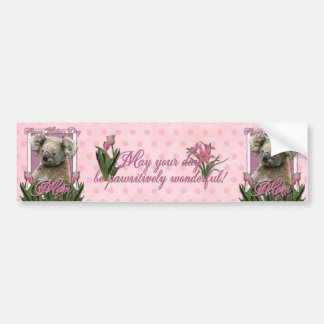 Mothers Day - Pink Tulips - Koala Bumper Sticker