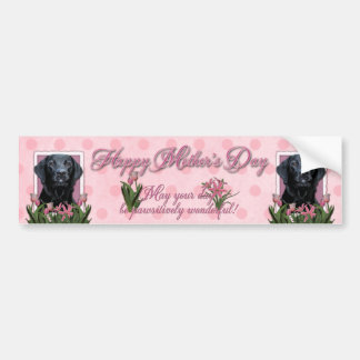 Mothers Day - Pink Tulips - Labrador - Black - Gag Bumper Sticker