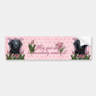 Mothers Day - Pink Tulips - Labrador - Black -Gage Bumper Sticker
