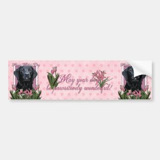 Mothers Day - Pink Tulips - Labrador - Black -Gage Bumper Sticker