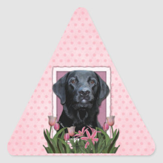 Mothers Day - Pink Tulips - Labrador - Black  Gage Sticker