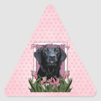 Mothers Day - Pink Tulips - Labrador - Black -Gage Triangle Sticker