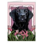 Mothers Day - Pink Tulips - Labrador - Black  Gaug Greeting Cards