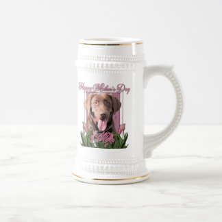Mothers Day - Pink Tulips - Labrador - Chocolate Beer Steins