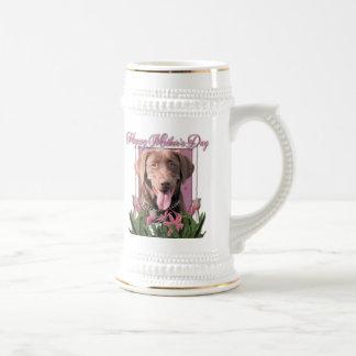 Mothers Day - Pink Tulips - Labrador - Chocolate Mugs