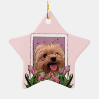 Mothers Day - Pink Tulips - Morkie - Lacey Christmas Ornament