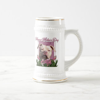 Mothers Day - Pink Tulips - Pitbull - Jersey Girl Beer Stein