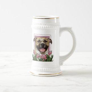 Mothers Day - Pink Tulips - Pitbull - Tigger Mugs