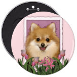 Mothers Day - Pink Tulips - Pomeranian 6 Cm Round Badge