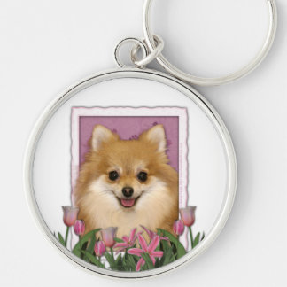 Mothers Day - Pink Tulips - Pomeranian Silver-Colored Round Key Ring
