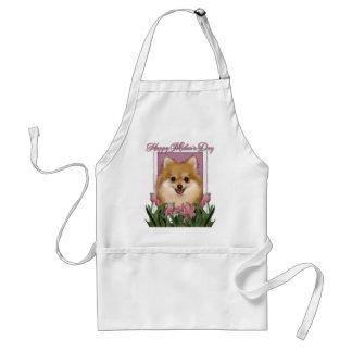 Mothers Day - Pink Tulips - Pomeranian Standard Apron