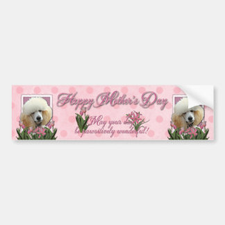 Mothers Day - Pink Tulips - Poodle - Apricot Bumper Sticker