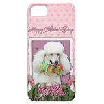 Mothers Day - Pink Tulips - Poodle - White iPhone 5 Covers