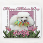 Mothers Day - Pink Tulips - Poodle - White Mouse Pad