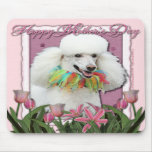 Mothers Day - Pink Tulips - Poodle - White Mouse Mats