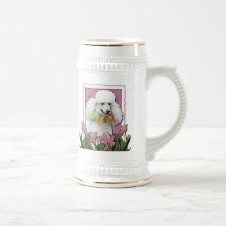 Mothers Day - Pink Tulips - Poodle - White Mug