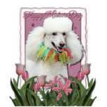 Mothers Day - Pink Tulips - Poodle - White Acrylic Cut Out
