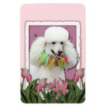 Mothers Day - Pink Tulips - Poodle - White Flexible Magnet
