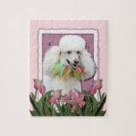 Mothers Day - Pink Tulips - Poodle - White Puzzles