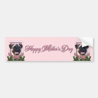 Mothers Day - Pink Tulips - Pug Car Bumper Sticker