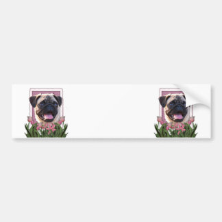 Mothers Day - Pink Tulips - Pug Bumper Stickers
