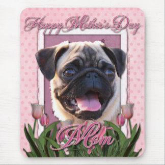 Mothers Day - Pink Tulips - Pug Mouse Mat