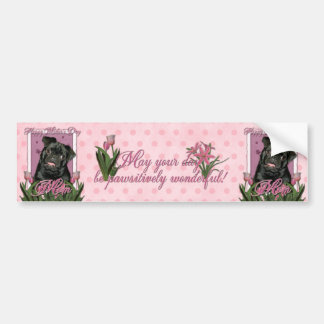 Mothers Day - Pink Tulips - Pug - Ruffy Bumper Sticker