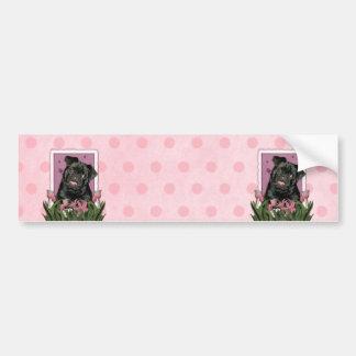 Mothers Day - Pink Tulips - Pug - Ruffy Bumper Sticker