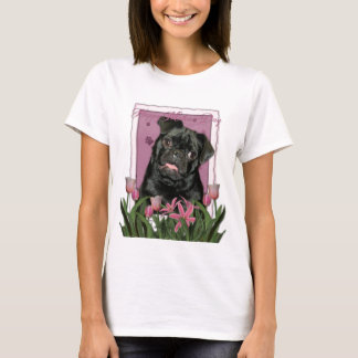 Mothers Day - Pink Tulips - Pug - Ruffy T-Shirt