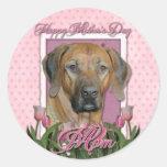 Mothers Day - Pink Tulips - Rhodesian Ridgeback Round Sticker