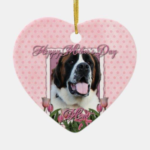 Mothers Day - Pink Tulips - Saint Bernard - Mae Ceramic Heart Decoration
