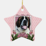 Mothers Day - Pink Tulips - Saint Bernard - Mae Christmas Ornament