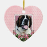 Mothers Day - Pink Tulips - Saint Bernard - Mae Christmas Tree Ornament