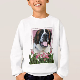 Mothers Day - Pink Tulips - Saint Bernard - Mae Sweatshirt