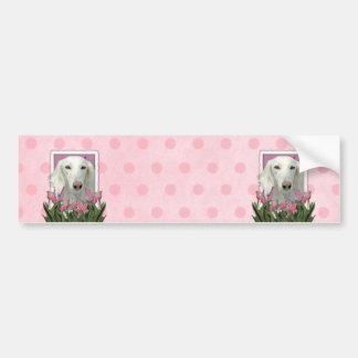 Mothers Day - Pink Tulips - Saluki Bumper Sticker
