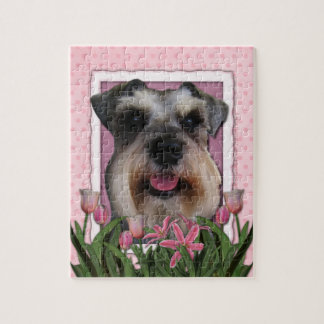Mothers Day - Pink Tulips - Schnauzer Jigsaw Puzzle