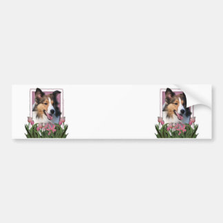 Mothers Day - Pink Tulips - Sheltie Bumper Stickers