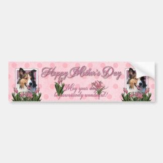 Mothers Day - Pink Tulips - Sheltie Bumper Sticker