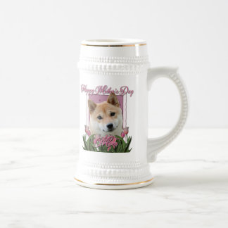 Mothers Day - Pink Tulips - Shiba Inu Beer Stein