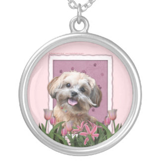 Mothers Day - Pink Tulips - ShihPoo - Maggie Silver Plated Necklace