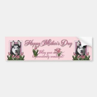 Mothers Day - Pink Tulips - Siberian Husky Bumper Sticker