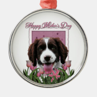 Mothers Day - Pink Tulips -Springer Spaniel Baxter Christmas Tree Ornament