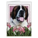 Mothers Day - Pink Tulips - St Bernard - Mae Greeting Cards