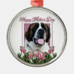 Mothers Day - Pink Tulips - St Bernard - Mae Christmas Tree Ornaments