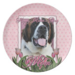 Mothers Day - Pink Tulips - St Bernard - Mae Plate