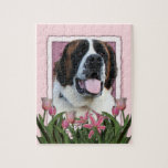 Mothers Day - Pink Tulips - St Bernard - Mae Puzzles