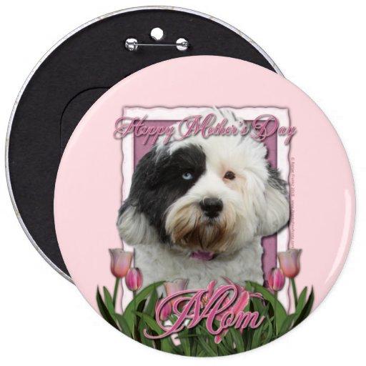 Mothers Day - Pink Tulips - Tibetan Terrier 6 Cm Round Badge