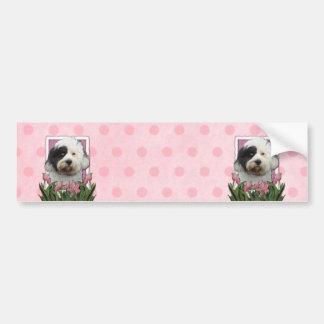 Mothers Day - Pink Tulips - Tibetan Terrier Bumper Sticker