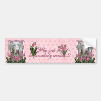 Mothers Day - Pink - Tulips - Weimeraner - Blue Bumper Sticker