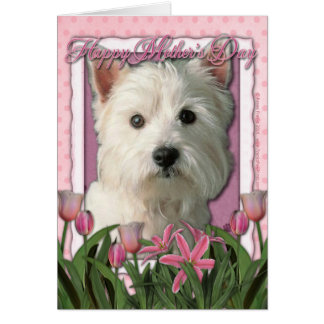 Mothers Day - Pink Tulips - West Highland Terrier Greeting Card
